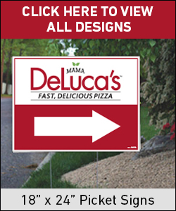 "Mama DeLuca's Pizza 18"" x 24"" Picket Signs"