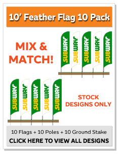 10' Feather Flag 10 Pack
