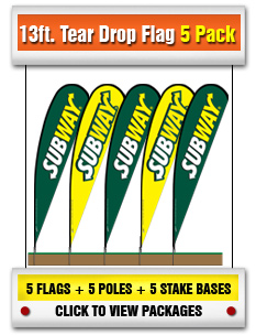 13 ft Tear Drop Flag 5-Pack
