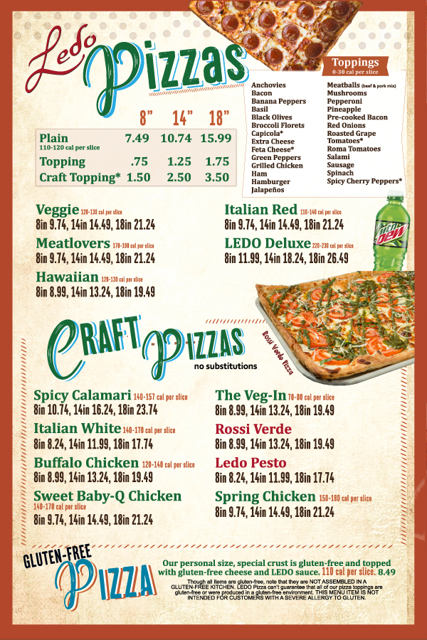 Ledo Pizza Menu Package 2018