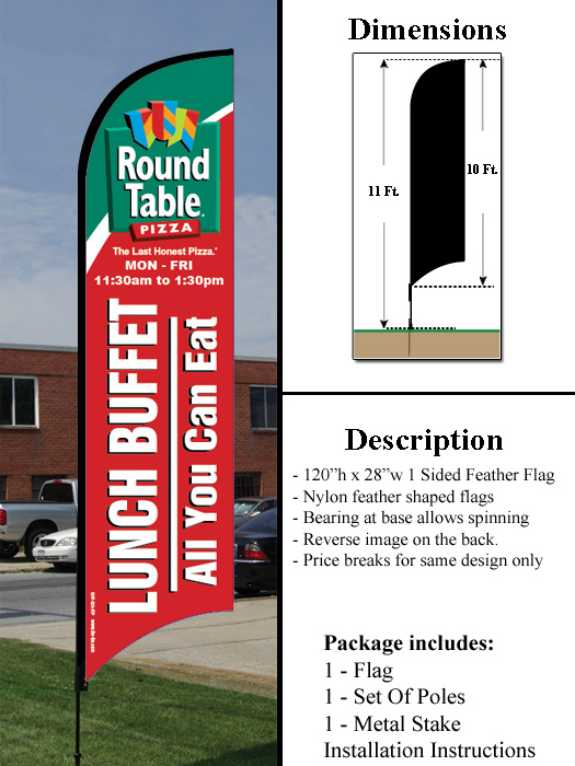 10 Ft Feather Flag Round Table Pizza Lunch Buffet