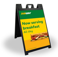 24 x 36 Black A-Frame - Now Serving Breakfast
