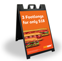 24 x 36 Black A-Frame - 3 Footlongs For 18